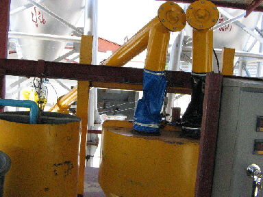 Pipes from silos to high shear mixer