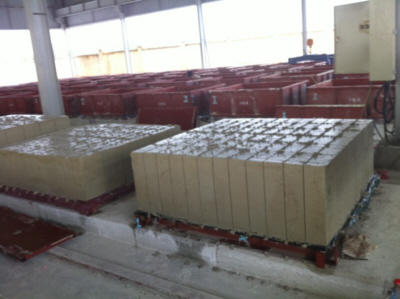 Small foamed concrete blocks after cutting